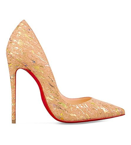 Famous red sole Christian Louboutin heel made from cork - vegan leather shoes.