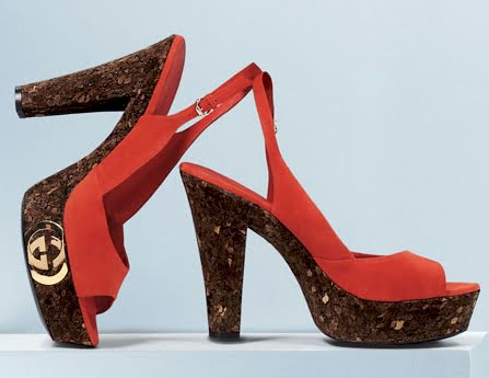 Luxury Dark Brown Cork Heels Gucci