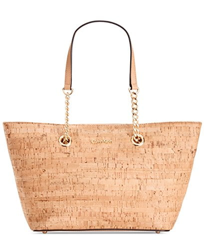 Luxury Cork Leather Tote Handbag by Calvin Klein