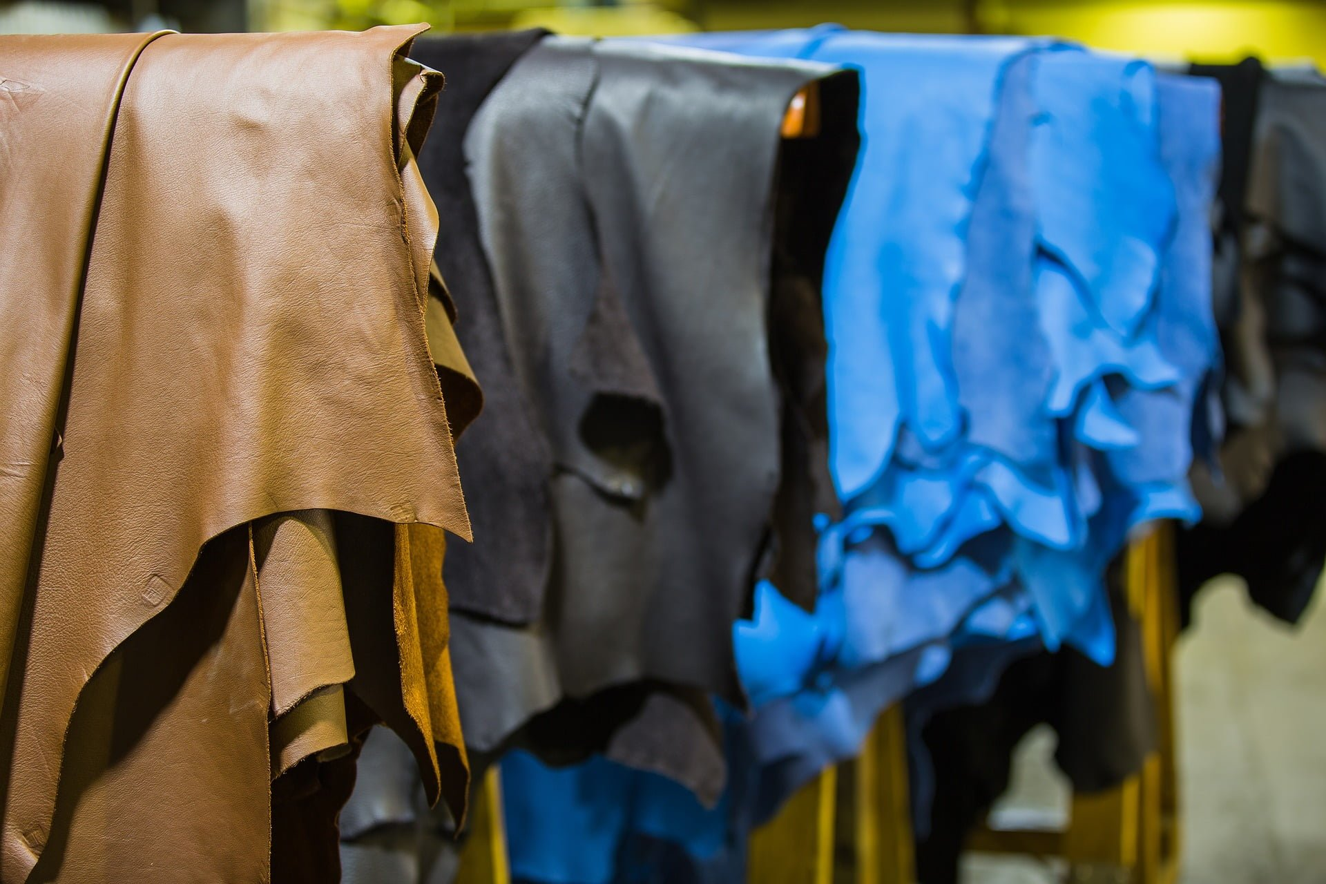Pieces of animal leather in tanneries.