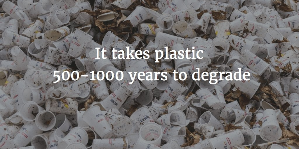 Statistics that plastic requires lots of time to degrade. The reason why non-natural vegan leather is bad.