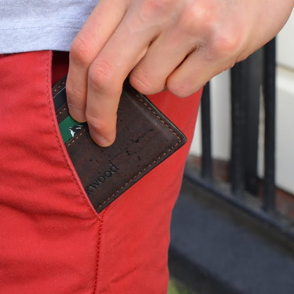 cork leather card holder
