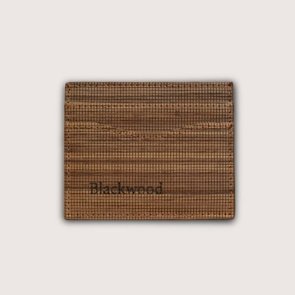Minimalist card holder in Wood Leather without card